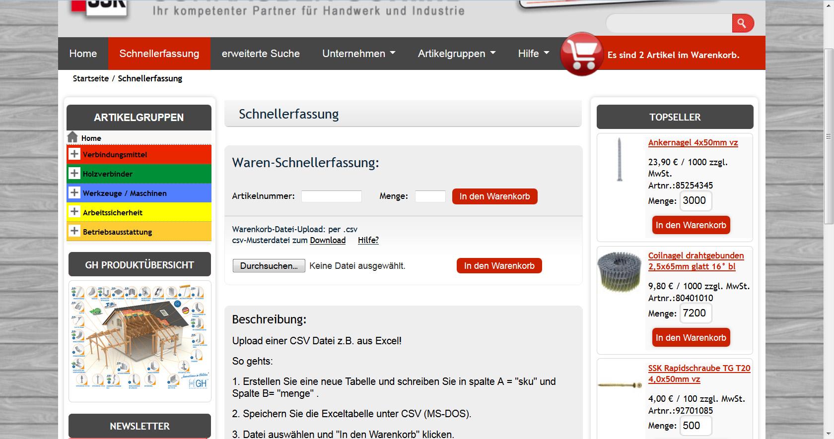 CSV-Datei und Schnellerfassung